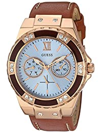 GUESS Women's Quartz Stainless Steel and Leather Automatic Watch, Color Brown (Model: U0775L7)