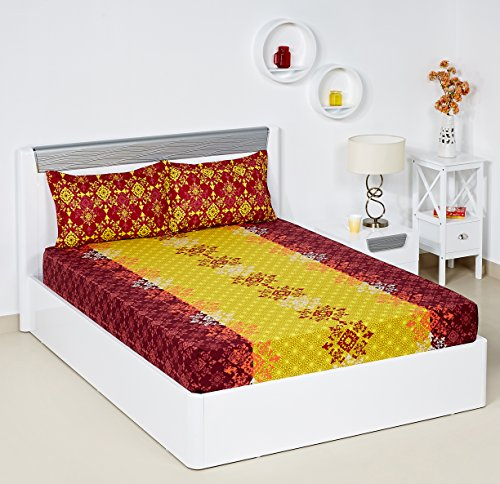 Bombay Dyeing Blumen 104 TC Cotton Double Bedsheet with 2 Pillow Covers – Yellow