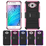 Galaxy J7 Case, HLCT Rugged Shock Proof Dual-Layer PC and Soft Silicone Case With Built-In Kickstand for Samsung Galaxy J7 (2016) (Pink)