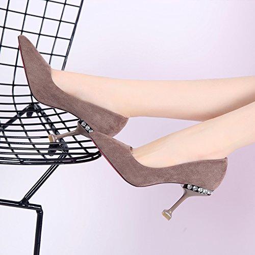 Ol Taladro Zapatos Y Luz Color Solo Trabajo De Mujer Ocio Zapatos De Caqui Agua Lady Punta Simple De Fina De Heeled MDRW Muelle Trabajo Elegante Zapatos Silvestre 34 35 8Cm Puerto High Zapatos X6zqgw