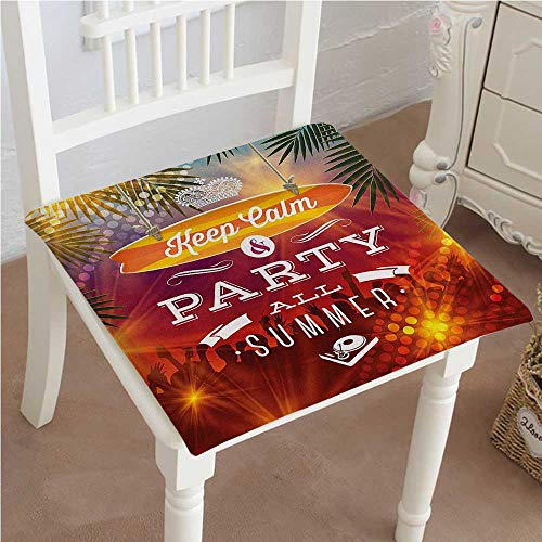 (Mikihome Chair Pads Classic Design Tropical Holiday Party Greeting Palm Trees and a Crown Print Cotton Canvas Futon 20