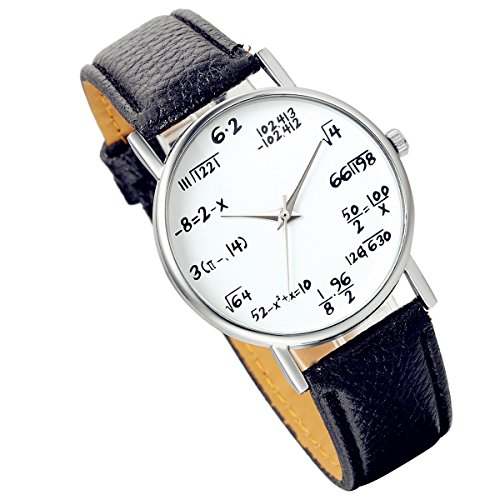 Lancardo Student Boys Girls Watch With Math Equations Dail Plate Leather Band (Black, 2PCS)