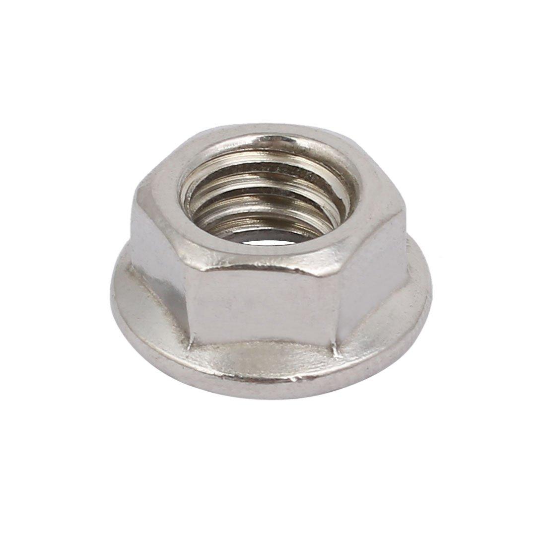 sourcingmap/® 12pcs 3//8-16 UNC Thread 304 Stainless Steel Hex Serrated Flange Nut Fastener