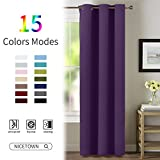 NICETOWN Thermal Insulated Blackout Curtains - Solid Grommet Noise Reducing Drape for Girls' room(One Piece,42 by 63-Inch, Royal Purple)