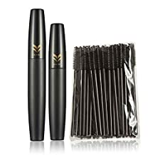 Xuanhemen 50pcs Disposable Eyelash Mascara Brushes with 2pcs 3D Fiber Brush Eyelash Mascara Set