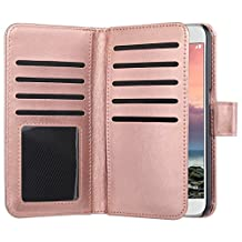 Galaxy S6 Case, Jwest Premium Leather Folio S6 Wallet Case Wristlet Lanyard Hand Strap Purse Flip Book Style Multiple Card Slots Cash Pocket with Magnetic Closure Case Cover Skin for Samsung Galaxy S6 Rose Gold