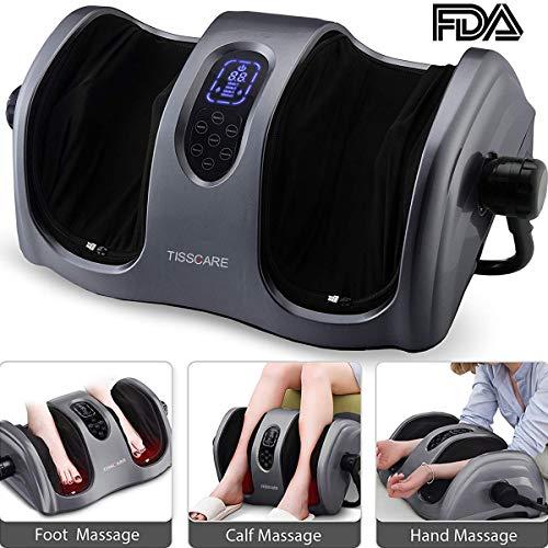 TISSCARE Shiatsu Calf Foot Massager Machine with Heat Leg Massager, Deep-Kneading for Tired Calf Leg Arm Plantar Fasciitis Neuropathy, Tired Muscles w/Adjustable bar (Heat Legs Massager For)