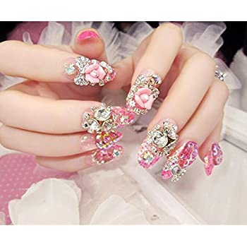 Dongcrystal 24pc 3D False Nails Bling Glitter Fake Full Nail Tip Floral Rhinestone Decor Bowknot Art