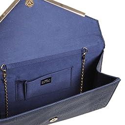 BMC Womens Navy Blue PU Leather Alligator Skin Pattern Perforated Glitter Metal Accent Envelope Flap Clutch Handbag