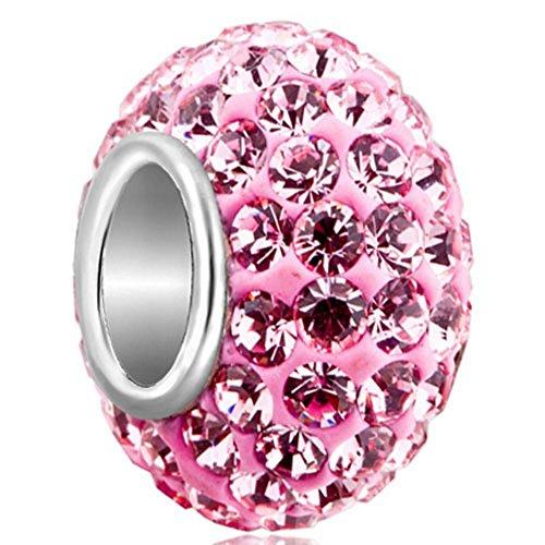 925 Sterling Silver Jan-Dec Birthstone Charms Swarovski Elements Crystal Sale Bead Fit European Bracelet (Pink October (Sale European Bead)