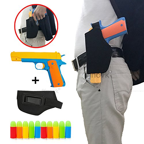 (Pinovk Classic Foam Play Toy Gun Colt 1911 Toy Gun with Tactical Holster and Colorful Soft Bullets,Real Dimensions,Fun Outdoor Game,Yellow)