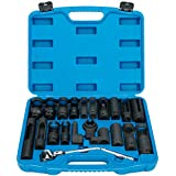 8MILELAKE 21pcs Oxygen Sensor Socket Set Sensor Oil Pressure Sending Unit Socket Set