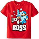 Minecraft  Boy's Like A Boss Youth T-Shirt,Red,youthMedium