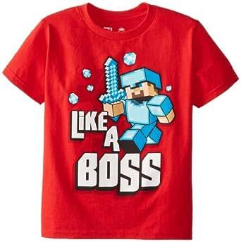 Minecraft  Boy's Like A Boss Youth T-Shirt,Red,youthX-Small