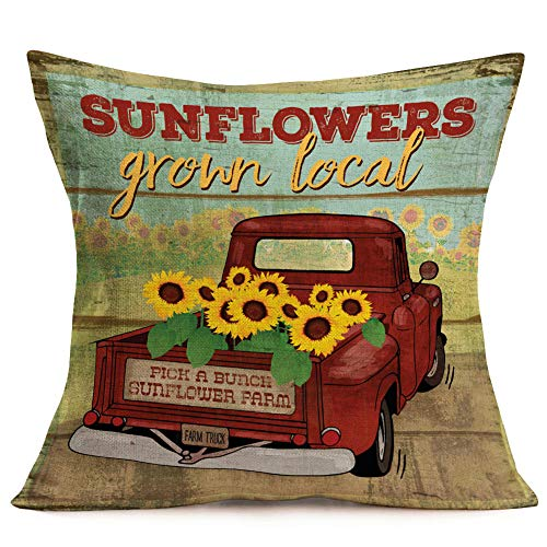 Fukeen Sunflower Throw Pillow Case Vintage Red Farm Truck with Yellow Floral Decorative Cushion Covers Vintage Wood Background for Rustic Style Farmhouse Garden Decor Cotton Linen Pillow Shams 18