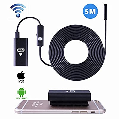 Wireless Endoscope, Sinstar Wifi Borescope with 8mm Lens 6 LED Waterproof Endoscope Inspection Camera Endoscopic Tube and Software for Iphone IOS/Android/Smartphone/PC