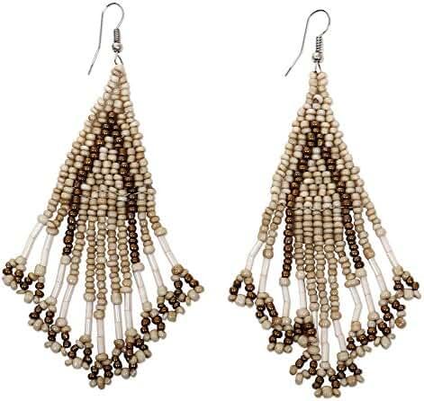 NOVICA Stainless Steel Beaded Hook Earrings 'Dance Queen'