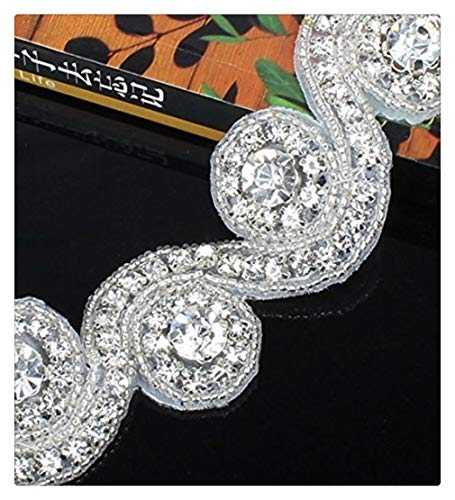 Crystal Rhinestone Applique-Wedding Beaded Applique 1 Yard DIY Bridal Applqiues for Wedding Dress Embellishment Decoration