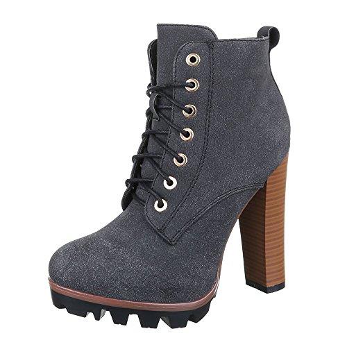 y gris Botas negro Design plisadas Ital Mujer qn86UBWw