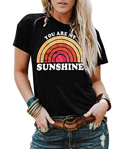 Knit Printed Tee - Kaislandy Womens You are My Sunshine T Shirt Short Sleeve Printed Graphic Tees Casual Summer O Neck Tops Shirts Black