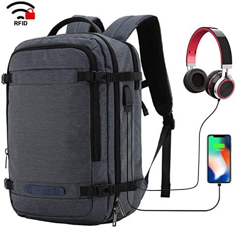 MIER Travel Backpack 17 Inches Laptop Carry On Daypack with USB Charging Port