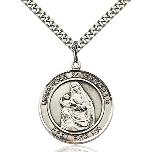 Bonyak Jewelry Custom Engraved Sterling Silver Madonna Del Ghisallo Pendant 1 x 5/8 inches with Heavy Curb Chain