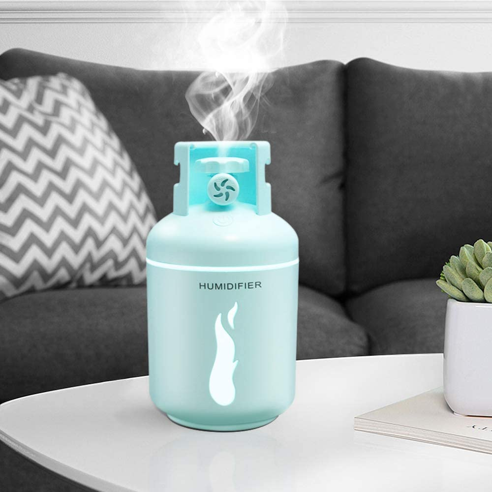 MOWASS Mini Cool Mist Humidifier, for Kids 300ml USB Power Personal Humidifier Air Purifier for Bedroom Blue