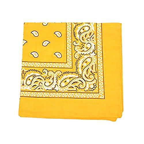 Paisley 100% Cotton Double Sided Bandana - 22 inches (Yellow) (Bandana Paisley Yellow)