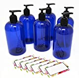 BAIRE BOTTLES - 8 OZ BLUE PLASTIC REFILLABLE BOTTLES with BLACK PUMPS - ORGANIZE Soap, Shampoo and Lotion with a Clean, Classy Look - PET, Lightweight, BPA Free - 6 Pack, BONUS 6 FLORAL LABELS