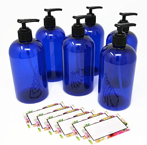 BAIRE BOTTLES - 8 OZ BLUE PLASTIC REFILLABLE BOTTLES with BLACK PUMPS - ORGANIZE Soap, Shampoo and Lotion with a Clean, Classy Look - PET, Lightweight, BPA Free - 6 Pack, BONUS 6 FLORAL LABELS by Baire Bottles