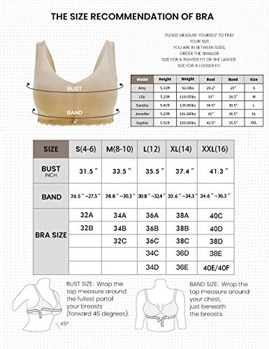 Womens Bras Padded Seamless Bra Comfortable No Wire Sleep Bras for Women