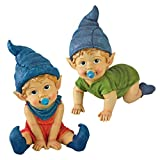Cheap Garden Gnome Statue – Archibald & Blaze the Baby Gnomes Set – Lawn Gnome