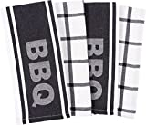 KAF Home Pantry Set of 4 Barbecue Jacquard Kitchen Towels | Perfect For Summertime Grilling, Pool Parties, Barbecues, and Everyday Use - Black Typography