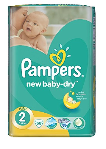 PAMPERS New Baby Dry Talla 2 mini 3 – 6 KG pañales 68 unidades