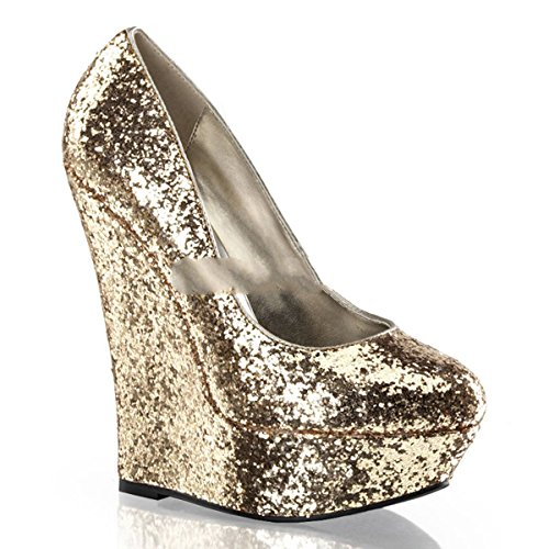 Pleaser Day & Night - Luster-20 - Sexy edle Wedge Plateau High Heels Glitter Pumps 35-40