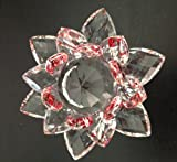 Crystal Lotus Flower Red/Clear Color 5 X 5 X 3 inches with Light Stand; Plus a Free Gift Cellphone Anti-dust Plug