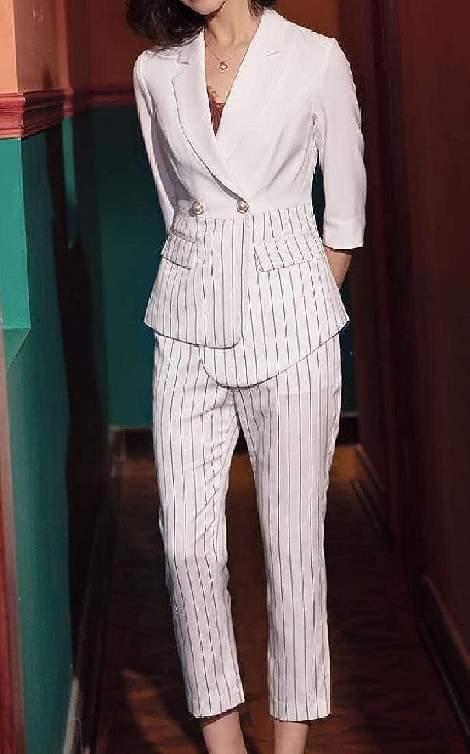 Andopa Women Notch Lapel Strip Irregular Work Blazer Jacket Long Pants