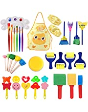 CQACQ Foam Paint Brushes Set,32pcs Kids Art & Craft DIY Early Learning Painting Sponges Painting Tools,Assorted Shape & Sizes Sponge Paint Brush Foam Brushes Kit for Painting (with Apron&Sleeve)