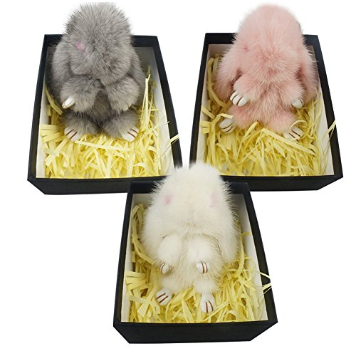 Magelier Genuine Mink Sable Fur Baby RABIT Animal Nursery Doll Toys Home Car Bag Phone Decoration Pendant Hanging Ornemants 3 Piece
