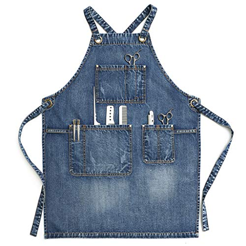 (Jeanerlor - Jean Apron for Men,Denim Apron for Hair Stylist, Craftsmen, Barista, BBQ, with Towel Loop + Tool Pockets, Adjustable L to XXL)