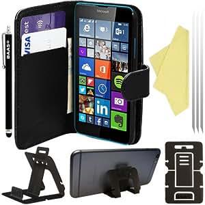 BAASA® Microsoft Lumia 640 LTE PU Leather Folio Case Wallet Pouch Flip Cover with Card Holder , 2x Screen Protector Film , Stylus Pen & Desktop Stand, [Importado de Reino Unido]