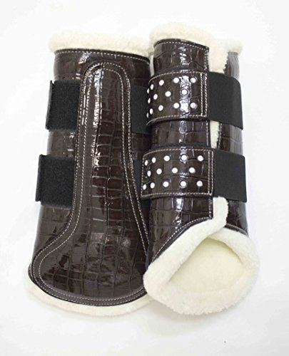 Delfina Limited Edition BROWN Patent Leather Crocodile Print Brushing Splint Dressage Sport Boots with Crystals Horse/Full Size Saddlery Print