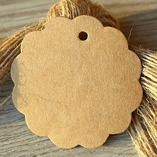 - Lysee White Black Brown Kraft Paper Tags Flower Shaped Label Luggage Wedding Note Blank Price Hang Tag 66cm 100pcs/lot - (Color: Brown)