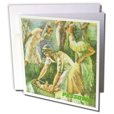 3dRose Moses In Basket Passover Scene - Greeting Cards, 6 x 6 inches, set of 12 (gc_37410_2)