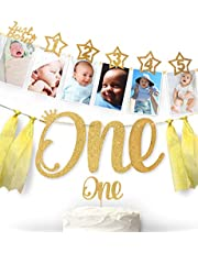 Glittery Garden 1st Birthday Gold Glitter Decorations Handmade Monthly Milestone Photo Banner For Newborn To 12 Months Cake Topper And One Banner Great For 1 Year Old Celebration Party Supplies