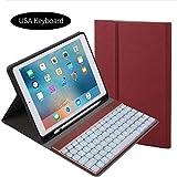 Moonmini iPad Pro 10.5 Inch 2017 キーボード ケース ペアリング 充電対応 クライト付き カバー アルミ スマート キーボード 無線 分離式 ケース アメリカのキーボード Red