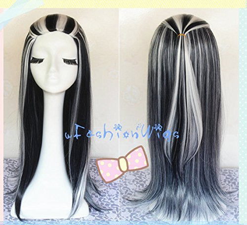 Monster High Frankie Stein Cosplay Wig, Black and White Multi Color Long Cosplay Wigs,Long Costume Anime Wigs for Party (Frankie Stein Wig)
