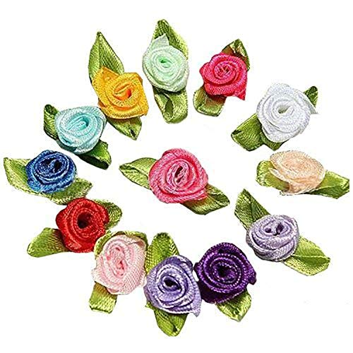 (andy cool100pcs Mini Satin Ribbon Rose Flower Leaf Wedding Decor Appliques Sewing Diy Main Color:mix Color Card Making Diy Decorations)