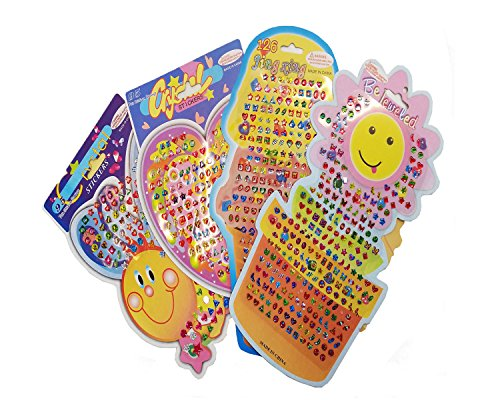 UPlama 12 Cards 1125 Pairs Adhesive Sticks Earrings,Gems Stickers,Girls Teens Sticker Earrings,Multicolor and Assorted Shapes