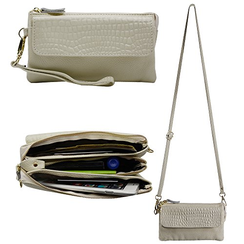 Befen Leather Wallet Clutch Phone Wristlet Women Smartphone Wallet Wristlet with Exquisite Tassels/Card Slots/Shoulder Strap/Wrist Strap - Beige